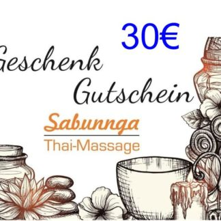 30 Euro Gutschein von Sabunnga Thaimassage